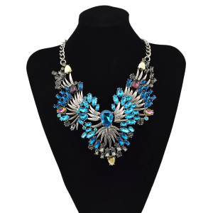N-5901  Famous brand luxury blue clear crystal drops flower collar statement necklace for women fine jewelry