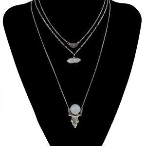N-5898  New Fashion Silver/Gold Plated 3 Chain Resin Beads  White Natural Turquoise Pendant Necklace For Women