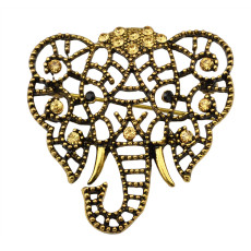 P-0208 Fashion Jewelry Vintage Gold Silver Plated Crystal Rhinestone Hollow Big Elephant Wedding Brooches For Women