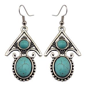 E-3632  Retro Tibetan Silver Carved Flower Arrow Turquoise Beads Dangle Earrings For Women Jewelry