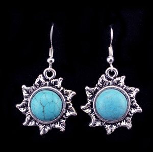 E-3633  Tibetian silver cute turquoise gem stone dangle earrings for women