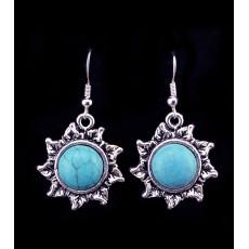 E-3633  Tibetian silver cute turquoise gem stone dangle earrings for women
