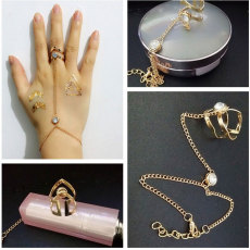B-0633  new design fashion gold link chain hollow out geometry shape finger ring with bracelet for women girl jewelry