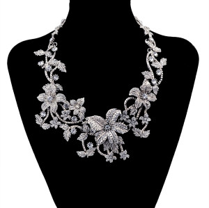 N-5903   European style alloy plated cirrus and flower theme colorful rhinestone beads choker necklace