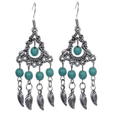 E-3634  Bohemian Style Vintage Silver Plated Turquoise Beads Leaf Dangle Earrings For Women Fashion Accessories