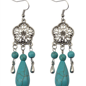 E-3636  New Retro Vintage Jewelry Tibetan Silver Plated Blue Turquoise Hollow Flower Dangle Statement Earrings for Women