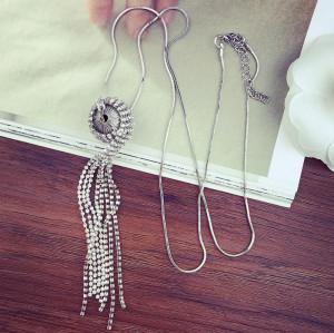 N-5907   Korea style silver snake chain full rhinestone tassel ball pendant necklace for women jewelry