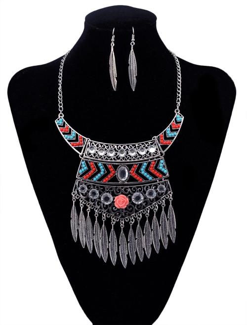 N-5916   Ethnic bohemian vintage silver resin gem geometric pendants necklaces leaf bib choker necklace earrings set jewelry for women