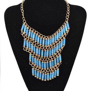 N-1763 bohemia style gold plated multi chain color cylinder resin gem tassels choker necklace