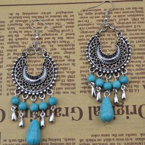 E-3637   Bohemian style retro silver plated turquoise moon shape pendant earrings