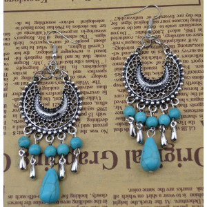 E-3637   Bohemian style retro silver plated turquoise moon shape pendant earrings