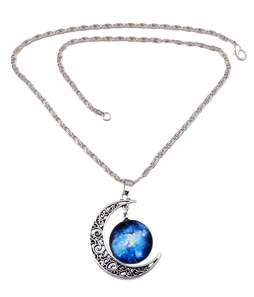 N-5919 new fashion silver link chain starry sky gem stone moon shape charm pendant necklace for women jewelry