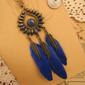 N-5917  Fashion style retro bronze plated colorful rhinestone leaf feather pendant necklace