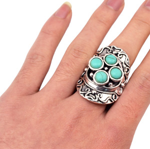 R-1293  New Fashion Tibetan Vintage Silver Plated Natural Turquoise Rings  Adjustable  For Women Jewelry