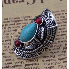 R-1294  Bohemian style tibet silver design red turquoise gem stone big beachy boho joint rings for women