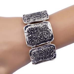 B-0630  New 2015 vintage silver alloy metal irregular geometry shape make rubber adjustable bracelets for women men jewelry