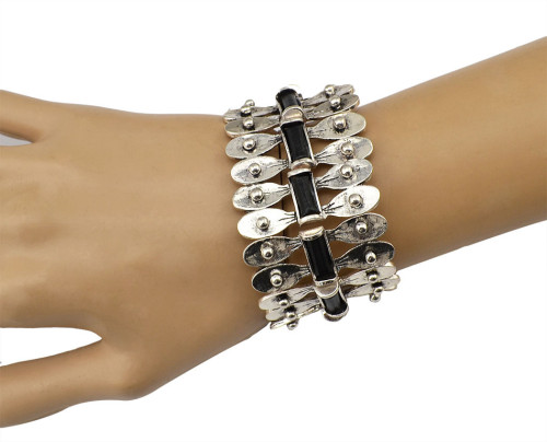 B-0631  New Fashion Bohemia Tibet Style Vintage Silver Bangle Link Chain Natural Round Shape Bracelet for Women