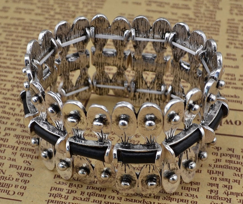 B-0631  New Fashion Bohemia Tibet Style Vintage Silver Bangle Link Chain Natural Round Shape Bracelet for Women