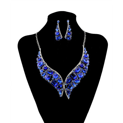 N-5925  New Arrival Silver Blue Crystal Rhinestone Necklace Earrings for Women Wedding Jewelry Sets Whit K Plated Bridal Jewelry Sets For Women Jewelry