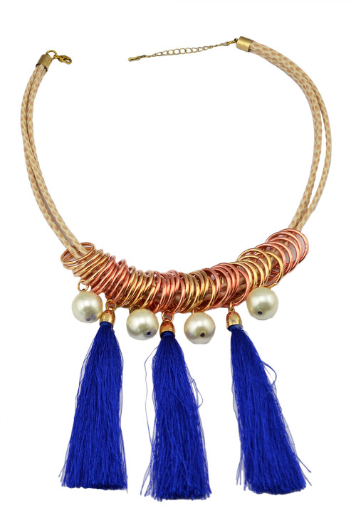 N-5928  2015 Bohemian Tassel Statement Fashion Blue Rope Pendant Pearl Jewelry Leather Chains Bib Collar Chokers Necklace