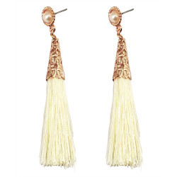 E-3646   Fashion Style gold plated pearl colorful rope tassel dangle earrings jewelry