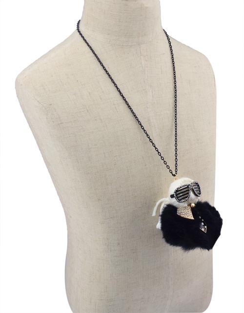 N-5927  Fashion Black Chain Thread Rope Wool Rhinestone Cool Glasses Boy Sweater Long Chain Doll Pendant Necklace