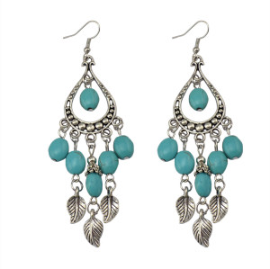 E-3642  Boho ethnic tibetan silver dangling leaf tassel hook earring turquoise carved long drop earrings brincos jewelry for women