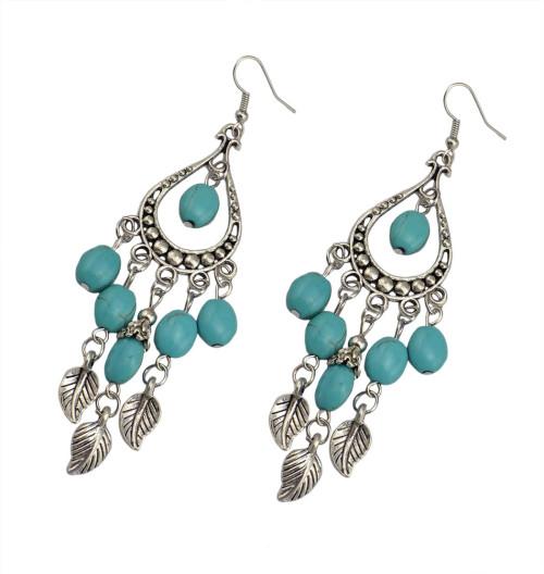 E-3642  Boho ethnic tibetan silver dangling leaf tassel hook earring turquoise carved long drop earrings brincos jewelry for women