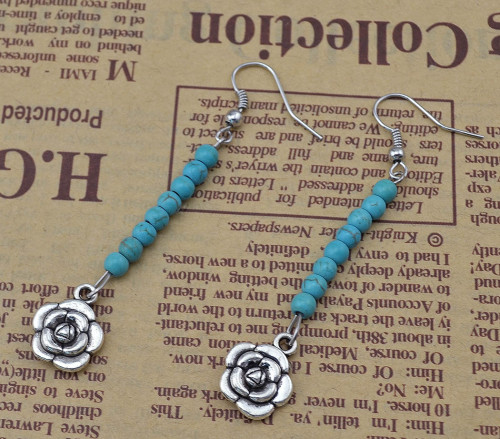 E-3641  New Fashion Silver Plated Blue Beads Hand Of Fatima Dangle Earrings For Women