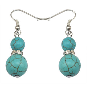 E-3640  Fashion Silver Vintage Retro Dangle Earring Women Jewelry Turquoise Earrings Boho Beaded Boucles d'oreilles