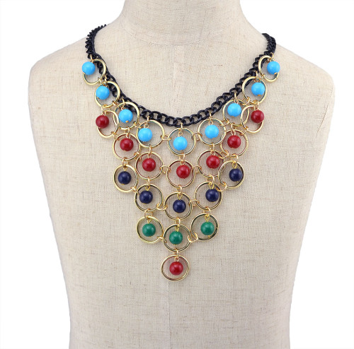 N-5937  Bohemian Blue/Red/Colorful Tassels Multilayer Beads Statement Choker Necklaces & Pendants Fashion Jewelry For Woman