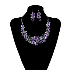 N-5939  New Fashion Korean Style Silver Chain Colorful Charm Rhinestone Beautiful Flower Dragonfly Bib Statement Necklace And Earrings Set Women Jewelry