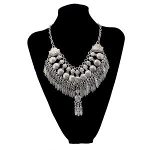 N-5930  Fashion Boho Gypsy Ethnic Necklace Vintage Silver Peanut Metal Leaves Pendant Jewelry Statement Necklace