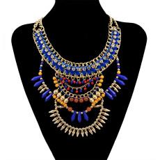 N-5938  European style gold plated handmade braid rhinestone  chuky chain blue brown beads rivet tassel charms bib statement necklace