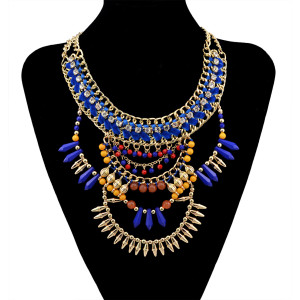 N-5938  European style gold plated handmade braid rhinestone  chuky chain blue brown beads rivet tassel charms bib statement necklace