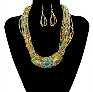 N-5909   2015 New Seed Beaded Necklaces Handmade Boho Style Multilayer Chain Moon Pendants Choker For Women Jewelry Set