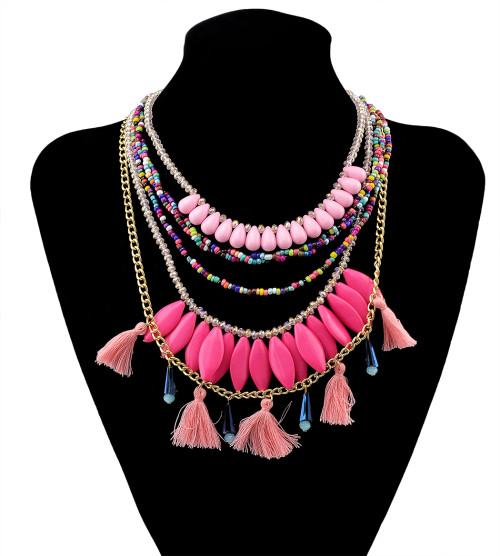 N-5947  Fashion Style gold plated 4 colors rhinestone acrylic beads multilayer chain necklace jewelry
