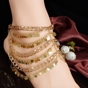 B-0634  New Fashion Summer Beach Metal Body Chains Layers Tassels Gold Anklet Paillette Chains Harness Foot Jewelry