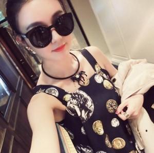 N-3799 Korea Style Black Hoop Chain Crown Crystal Horse Choker Necklace