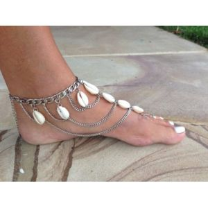 B-0641  New charms anklet for women silver plated shell tassel anklet foot bracelet beach boho jewelry