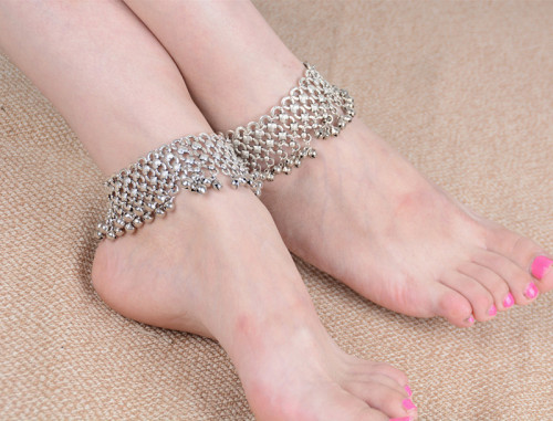 B-0640  Korean style silver plated bell bead foot chain fashion anklet for women jewelry adjustable