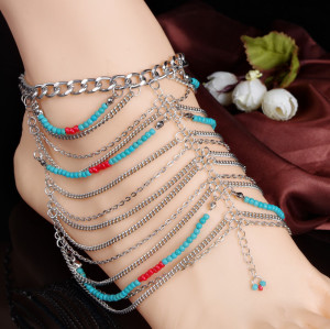 B-0639  Women Tassels Chain Anklets Hot Summer Ankle Bracelet Bohemian Foot Jewelry Multilayer Turquoise Anklet