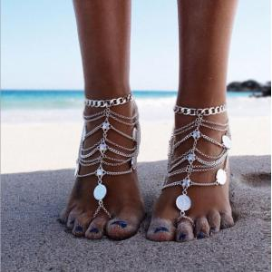 B-0638  Bohemian vintage silver multilayer coin flower charms anklet bracelets women foot jewelry