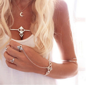 B-0637  Punk fashion silver alloy geometric cuff bangle crystal slave bracelets for women jewelry