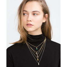 N-5940  Bohemian style gold plated multilayer long tassel hexagon crystal turquoise quartzs stone pendant necklace vintage boho jewelry