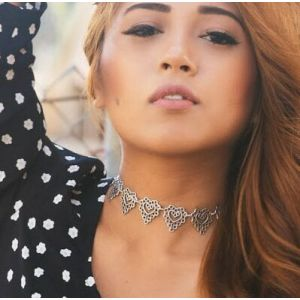 N-5951 New  fashion tibet silver engraved flower choker necklace for  women jewelry
