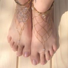 B-0650  Vintage Gold Women Tassels  Chain Anklets Bracelet Bohemian Foot Jewelry Anklet