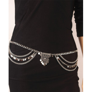 N-5954  Boho silver gold metal bead chain tassel body jewelry sequins charms sexy biniki waist belly beach tribal jewelry