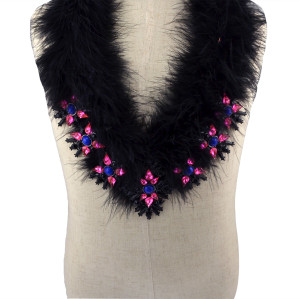 N-5956  New Fashion Gun Black Plated Chain Charm  Rhinestone Natural Resin Beads Black Feather Bib Statement Necklace for Women Jewelry