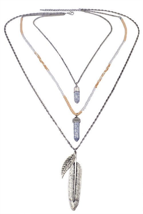 N-5957  New Fashion Silver Multilayer Chain Necklace Leaf Pendant Gift for Women